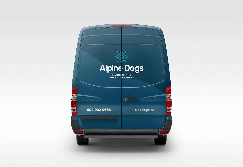 Alpine Dogs branded van back view